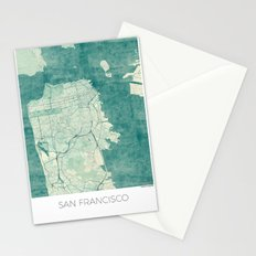 San Francisco Map Blue Vintage  Stationery Cards
