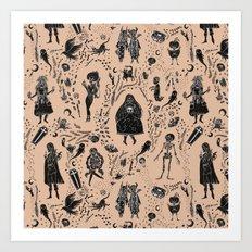 Creatures of the Night (orange) Art Print