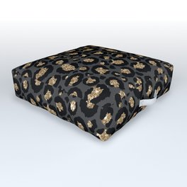 Black Gold Leopard Print Pattern Outdoor Floor Cushion