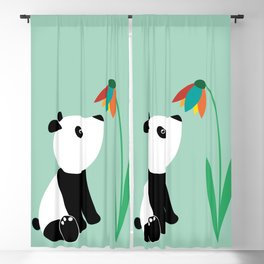 Sweet panda and flower Blackout Curtain