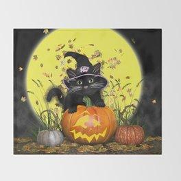 Pumpkin Kitty Throw Blanket