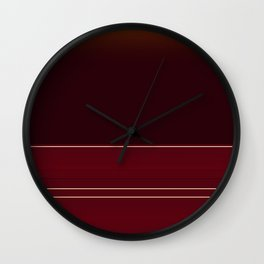 Rich Burgundy Ombre with Gold Stripes Wall Clock