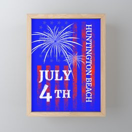 Huntington Beach 4th of July Independence Day Framed Mini Art Print
