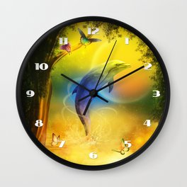 Colorful Dolphin Wall Clock