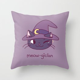 Meowgician Throw Pillow