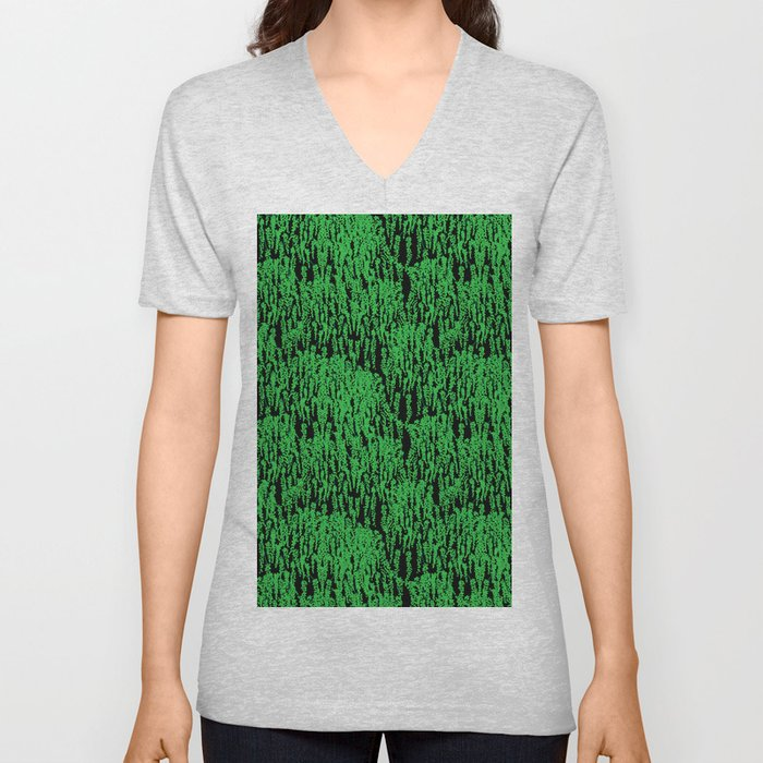 Cascading Wisteria in Green + Black Unisex V-Neck