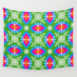 White design on pink, orange, green, and blue pattern Wall Tapestry