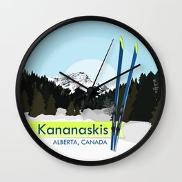 Kananaskis Skiing Wall Clock
