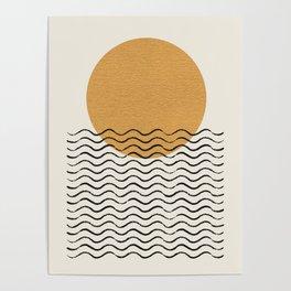 Ocean wave gold sunrise - mid century style Poster