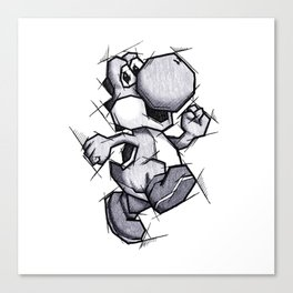 Yoshi Handmade Drawing, Games Art, Super Mario, Nintendo Art Canvas Print