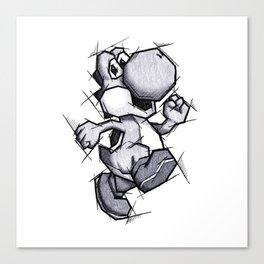 Yoshi Handmade Drawing, Games Art, Super Mario, Nintendo Art Canvas Print