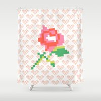 stitch Shower Curtains featuring Cross Stitch by Louise Machado