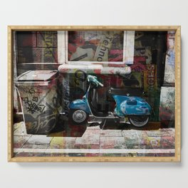 Vintage Vespa Street Art in Nice French Riviera Serving Tray