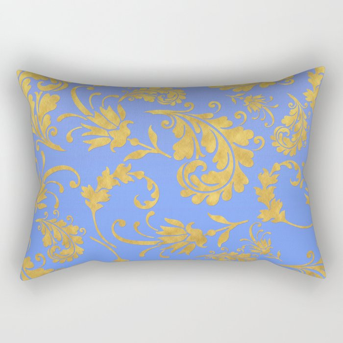 Queenlike- gold floral ornaments on blue backround-luxury pattern Rectangular Pillow