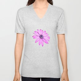 Single Pink African Daisy Against Green Foliage Unisex V-Neck