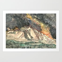 Mount Sopris and the Galaxy Art Print