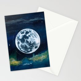 Full Moon Mixed Media Painting Stationery Cards