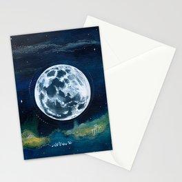 Full Moon Mixed Media Painting Stationery Cards