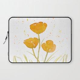 Watercolor California Poppies Laptop Sleeve