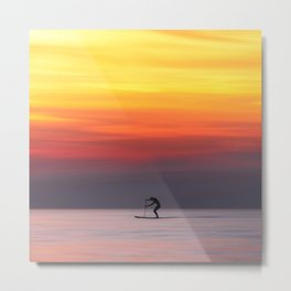 Stand up paddle and calm water in the sunset Metal Print