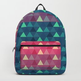 Abstract pink blue geometrical triangles pattern Backpack