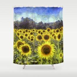 Sunflower Fields Of Dreams Art Shower Curtain