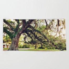 Live Oak Tree with Spanish Moss Beach Towel