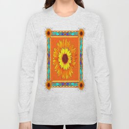 Southwestern Sun Flowers Abstract Design Long Sleeve T-shirt