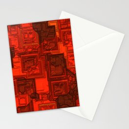 Luxury glowing red cubes Stationery Cards