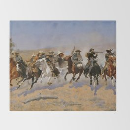 "Frederic Remington Western Art ""Dash For The Timber"" Throw Blanket"