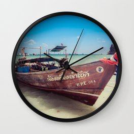 Longtail Boat on Phi Phi Island Thailand Wall Clock