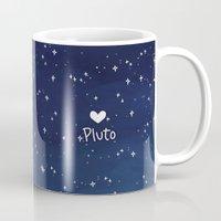 enerjax Mugs featuring Pluto - I love myself by enerjax