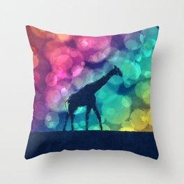 Pop Art Giraffe Silhouette Throw Pillow