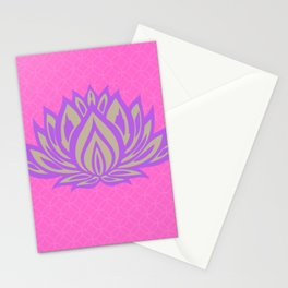 Lotus Meditation Pink Throw Pillow Stationery Cards