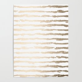 Simply Brushed Lines White Gold Sands on White Poster