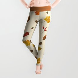 Autumn ivory gold brown fall leaves pattern Leggings