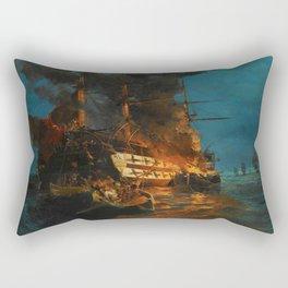 The Burning of a Turkish Frigate Rectangular Pillow