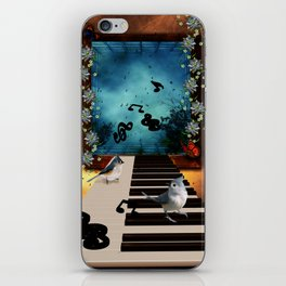 Music, piano with birds and butterflies iPhone Skin