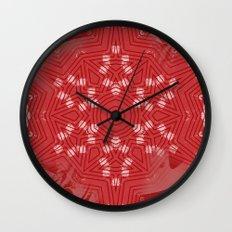 Red stripes on grunge pink mandala Wall Clock