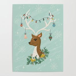 Vintage Inspired Deer with Decorations Poster