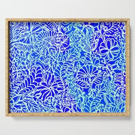 Jungle Garden, Blue Serving Tray