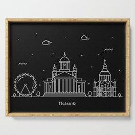 Helsinki Minimal Nightscape / Skyline Drawing Serving Tray