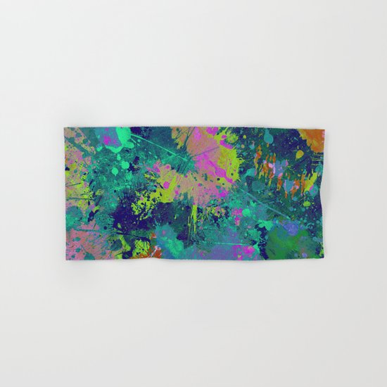 Messy Art I - Abstract, paint splatter painting, random, chaotic and messy artwork Hand & Bath Towel