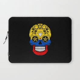 Sugar Skull with Roses and Flag of Colombia Laptop Sleeve