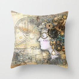 Steampunk Artist Throw Pillow
