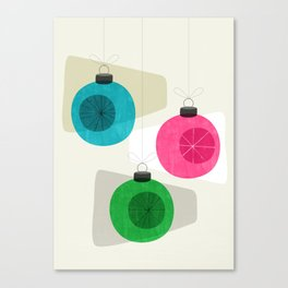 Retro Holiday Baubles Canvas Print