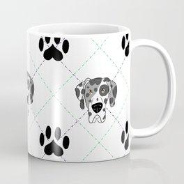 Merle Great Dane Paw Print Pattern Coffee Mug
