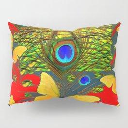 GREEN PEACOCK FEATHERS YELLOW BUTTERFLIES ON  RED ART Pillow Sham