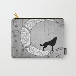 Moon mandala design with wolf Carry-All Pouch