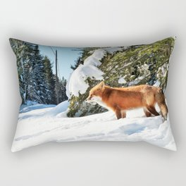 Happy Red Fox in Fresh Snow in Algonquin Rectangular Pillow